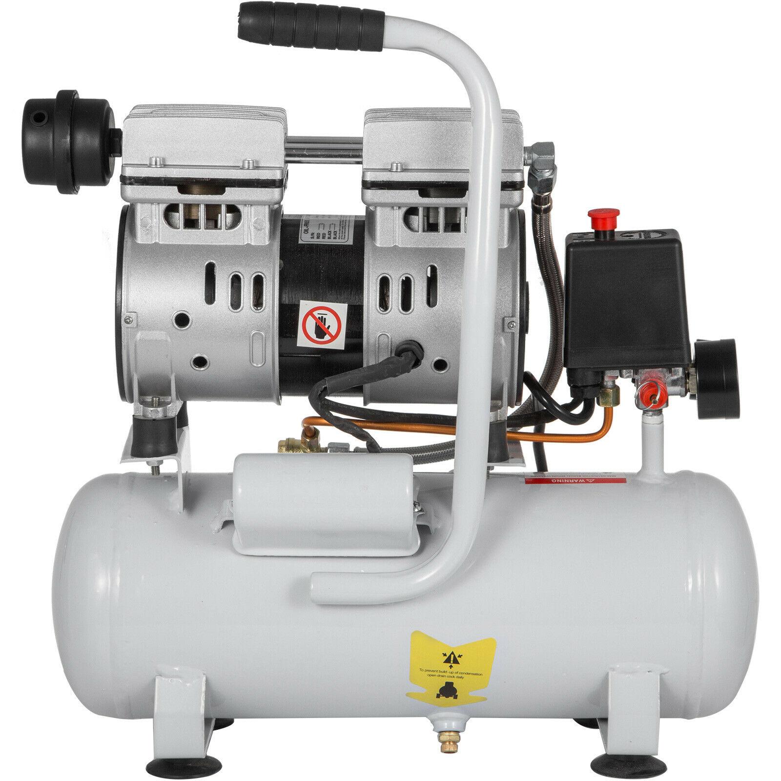 Compresor Whisper, compresor de aire sin aceite, 9L, manómetro de disipación de calor silencioso