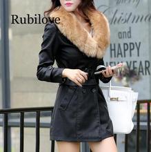 Rubilove 2019 Winter New Women Long Leather Jacket Coat Female Fashion Big Fur Collar Thick Plus Cotton Slim Size Windbreak
