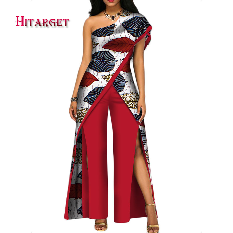 2020 New Autumn African Pant Set For Women Sexy Off Shoulder Jumpsuit Dashiki Clothing Batik Wax Printing Print Cotton WY2373