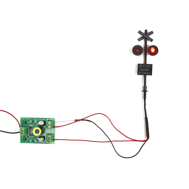 JTD877RP 1 set/2 Sets/6 sets HO Scale 6cm Railroad Crossing Signals 2 heads LED made + Circuit board flasher 2