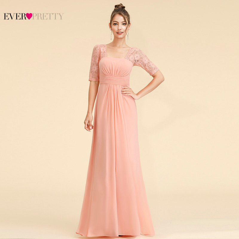 [Big Sale] Elegant Bridesmaid Dresses Ever Pretty EP08038 Square Neck Half Sleeves Long Lace Bridesmaid Dress Wedding Occation