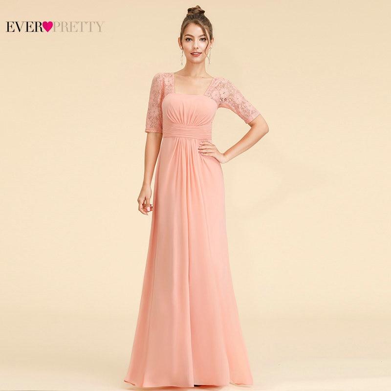 [Big Sale] Elegant Bridesmaid Dresses Ever Pretty EP08038 Square Neck Half Sleeves Long Lace Bridesmaid Dress Wedding Occation