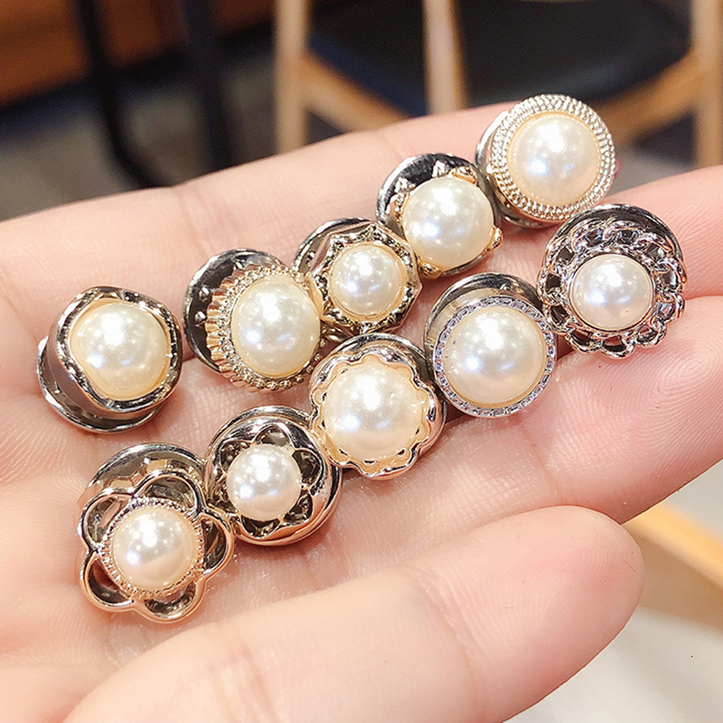 10Pcs Fashion <font><b>Button</b></font> Prevent Accidental Exposure <font><b>Buttons</b></font> Pearl Brooch <font><b>Pins</b></font> Badge High Quality Cufflinks <font><b>Button</b></font> For Clothes Decor image