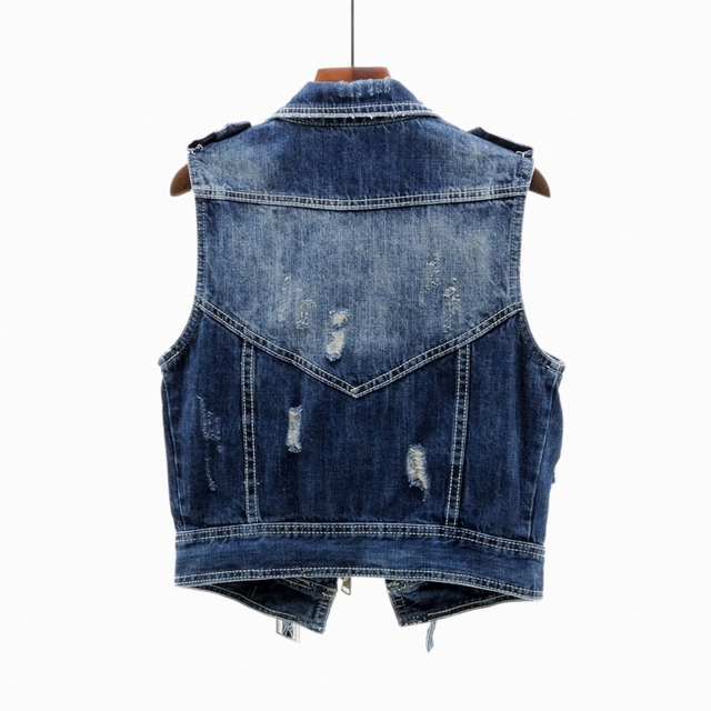 2020 Spring Denim Vest Women Short Korean Plus size 4XL Vintage Frayed Loose Jeans Vest Female Waistcoat Sleeveless Jacket Coat