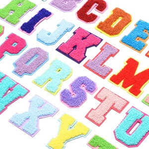 26 English Alphabet Towel Embroidered Patches For Clothing Bags Jacket Sew On Accessories DIY Name Letters Patch Applique