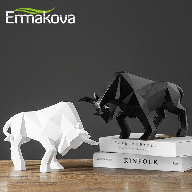 ERMAKOVA שרף שור פסל ביזון פיסול קישוט מופשט בעלי החיים צלמית שולחן חדר עיצוב הבית מתנה