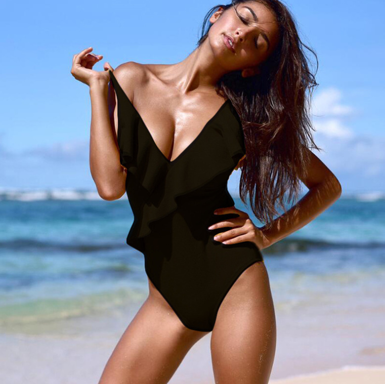 TITAME, спортивный купальник, сдельный, с глубоким вырезом, с оборками, купальник для женщин, без проволоки, пляжная одежда, летние купальники м... 13