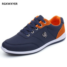 RGKWXYER New Fashion Mens Casual Shoes Sneakers For Men Flats Trainers Walking British Style Lace Up PU Leather