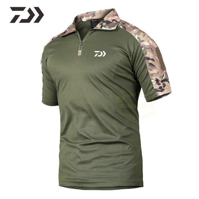 Daiwa pêche Camouflage t-shirts court pêche t-shirt hommes fermeture éclair chemise de pêche hommes vêtements de pêche respirant sport haut dété