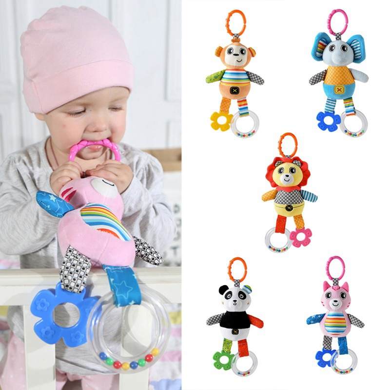 NEW Soft Plush Cartoon Animal Rattles Handbells Kids Baby Bedside Pendant Hanging Hand Jingle Ring Toy 1PC