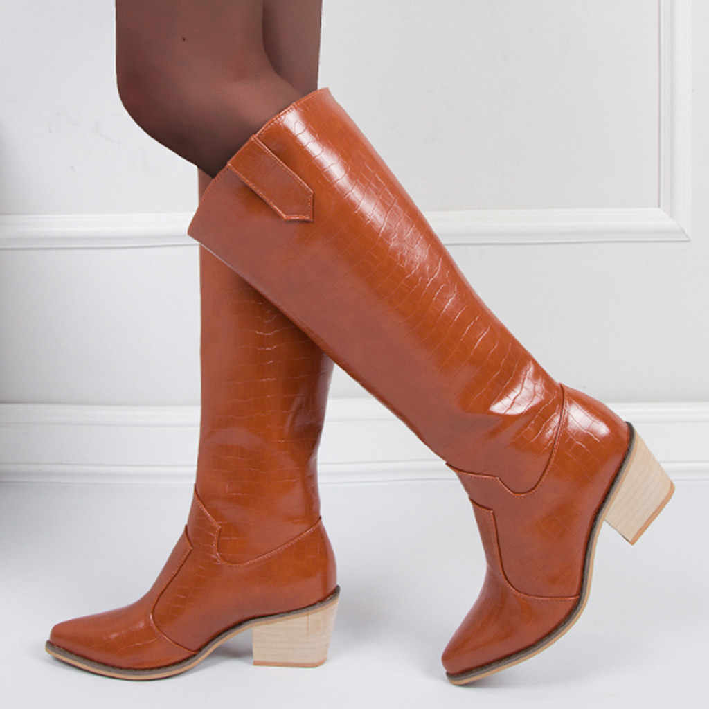 Họa Tiết Vân Cá Sấu Nữ Giày Chelsea Boot Rộng Bắp Chân Ống Dài Boot Mùa Đông Cao Đến Đầu Gối Giày Da Cao Gót giày Mũi Nhọn