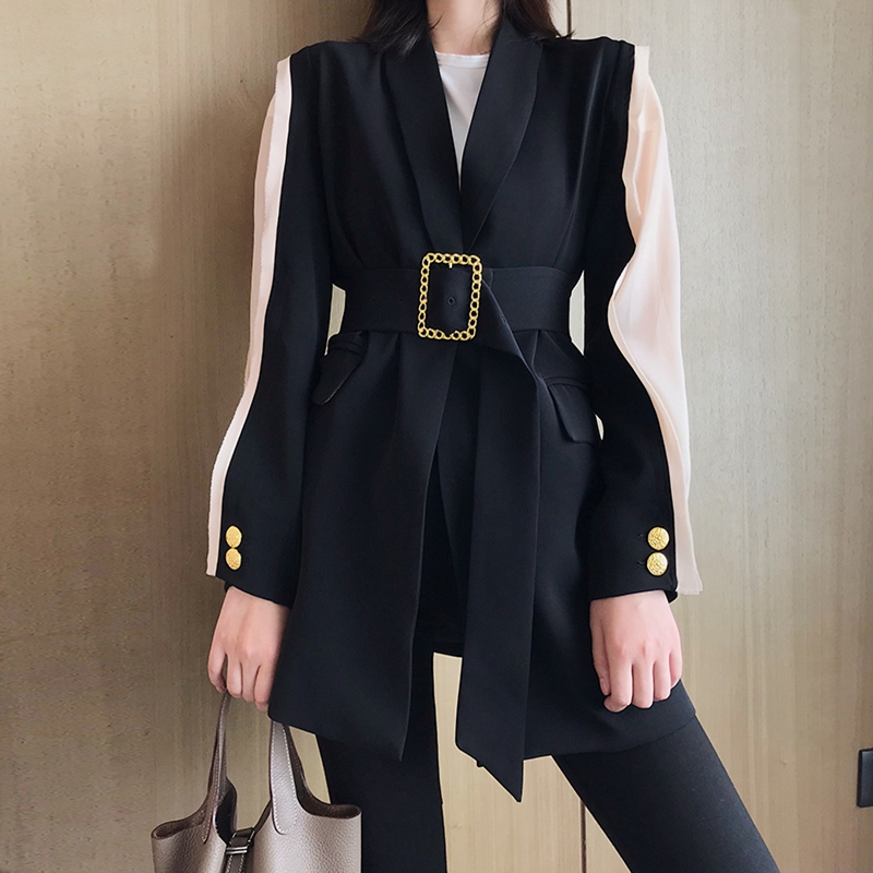 High Quality Patchwork Women Blazer Coat Metal Gold Buckle Belt Black Femme Fashion Ladies Jacket Coat Outwear Mujer