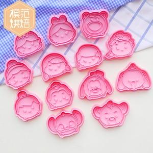 Cortadores de galletas de princesa de Disney Stitch, bonitos moldes para hornear con dibujos animados en 3d, moldes para hornear galletitas Kawaii, utensilios de cocina