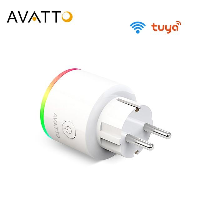 Умная розетка AVATTO, беспроводная вилка 16 А, разъем EU, подсветка RGB, счетчик потребляемой мощности, Wi Fi, Google Home, голосовое управление Alexa