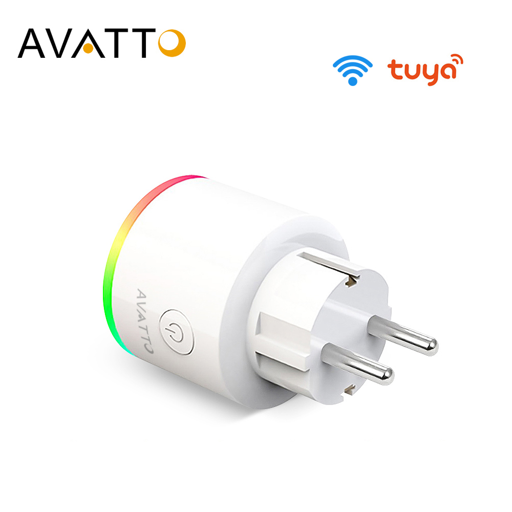 AVATTO 16A EU RGB wifi Smart Plug with Power Monitor wifi wireless Smart Socket Outlet with Google Home Alexa Voice Control