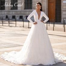 אשלי קרול ארוך שרוול חתונה שמלת 2020 אלגנטי סאטן V צוואר חרוזים תחרת אפליקציות נסיכת הכלה שמלת Vestido דה Noiva