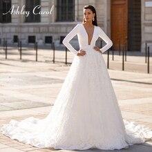 Ashley carol vestido de casamento de manga longa 2020 elegante cetim com decote em v frisado apliques de renda princesa vestido de noiva