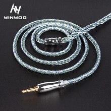 Yinyoo 16 Core אוזניות משודרג כבל כסף מצופה נחושת 2.5/3.5/4.4MM MMCX/2pin/QDC TFZ עבור KZ ZS10 ZSN פרו AS16 ZSX