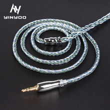 Yinyoo 16 Core Earphone Upgraded Cable Silver Plated Copper 2.5/3.5/4.4MM MMCX/2pin/QDC TFZ For KZ ZS10 ZSN Pro AS16 ZSX