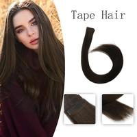 Vlasy 20'' 2.5g/pc Virgin Cuticle 100% Remy Hair Straight Skin Weft Invisible Tape In Human Hair Extensions