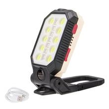 USB COB Folding Work Light 4 Modes T6 LED Camping Flashlight Torch Lantern Emergency Light Magnetic Car Inspection Lamp