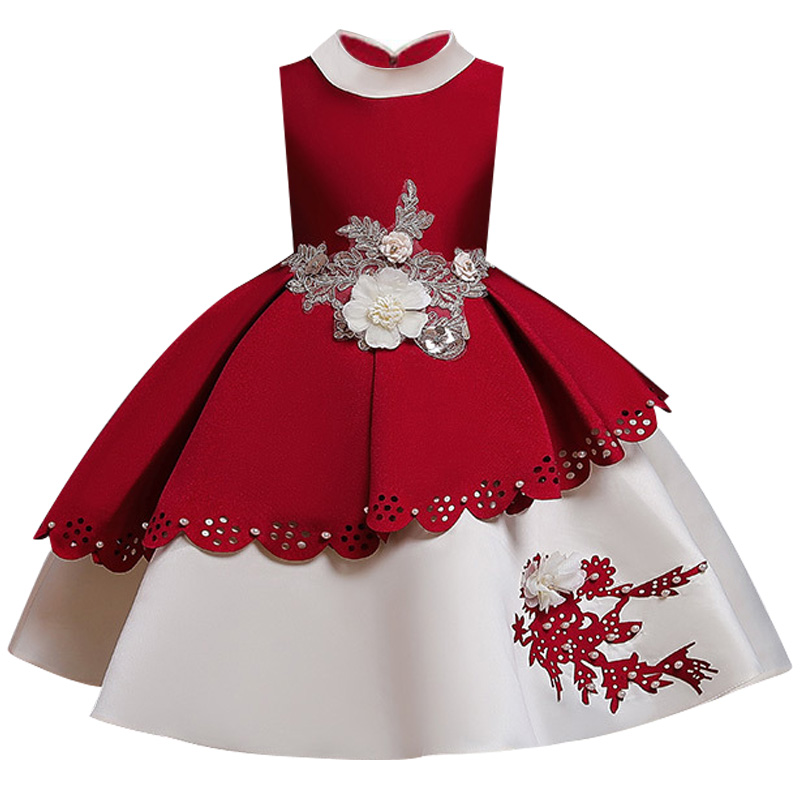 New Princess Girl Campus Graduation Ball Party Pompon Dress Children's Birthday Party Eucharist Decorative Dress