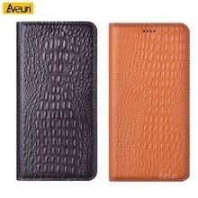 יוקרה תנין טלפון מקרה עבור Xiaomi Redmi הערה 9 פרו מקס Coque אמיתי Flip עור עבור Redmi הערה 9S 8 פרו 8 T 8 T כיסוי מקרה
