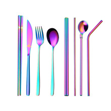 10pcs Stainless Steel Cutlery Set Chopsticks Forks Knives Spoons Straw Spoon with Close Bag for Home