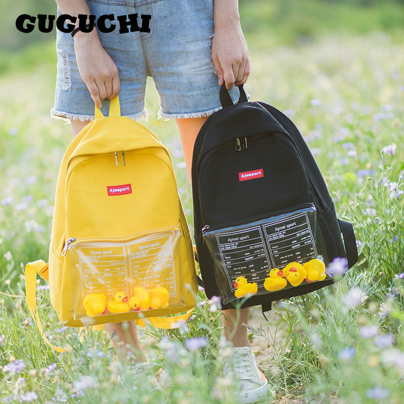 Backpack Women 2020 New Hot Fashion Female Casual Transparent With Cartoon Ducks Canvas Backpacks Students School Shoulder Bags