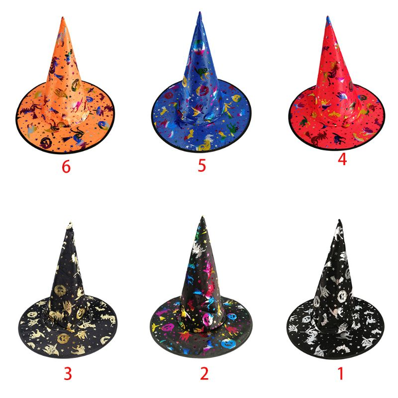 1PC Adult Children Witch Wizard Hat Colorful Bronzing Foil Pumpkin Pattern Fancy Dress Halloween Party Masquerade Cosplay Costum