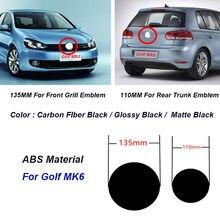 2 pçs 135mm 110mm abs carro frente grill emblema tronco traseiro emblema logotipo para golf mk6