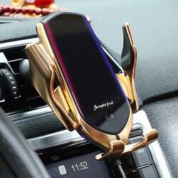 R2 automático de fixação 10 w qi sem fio carregador carro para iphone huawei lg indução infravermelha samsung inteligente sensor telefone titular quente
