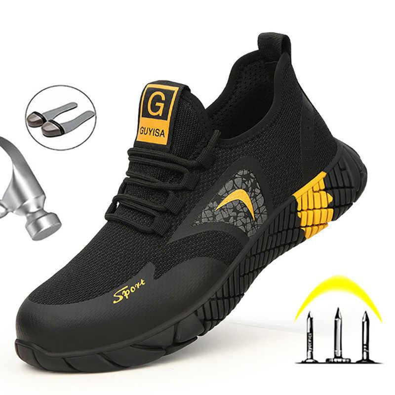 通気性の男性の安全靴ブーツスチールつま先キャップカジュアル男性のブーツ作業不滅靴穿刺防水作業スニーカー