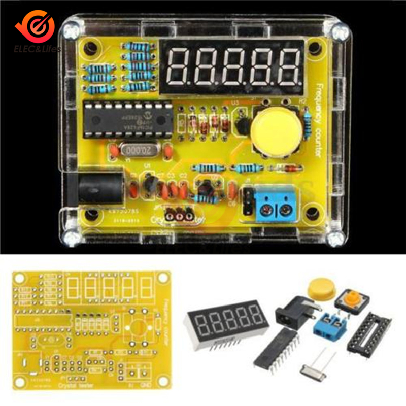<font><b>DIY</b></font> <font><b>Kits</b></font> 1Hz-50MHz Frequency Counter with Crystal Oscillator Tester <font><b>5</b></font> digits display Digital Frequency Meters with Acrylic Case image