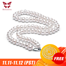 Colar de pérolas de água doce natural branco para as mulheres 8 9mm colar de contas de jóias 40cm/45cm/50cm comprimento colar de jóias de moda