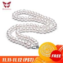 Collar de perlas de agua dulce naturales blancas para mujer, collar de 8 9mm, collar de cuentas, joyería de 40cm/45cm/50cm de longitud, collar de joyería de moda