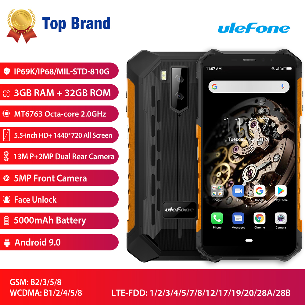 Ulefone Armor X5 Smartphone Android 9.0 MT6763 Octa Core Ip68 Rugged 4G LTE Mobile Phone Waterproof Cell Phone 3GB 32GB NFC