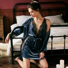 Золотистая бархатная Пижама женская зимняя пикантная Соблазнительная