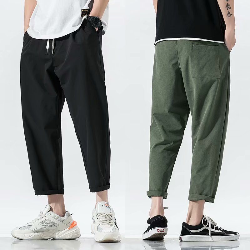 2020 New Summer Men's Black Army Green Harem Pants Streetwear Loose Casual Pants Ankle Length Trousers S-3XL