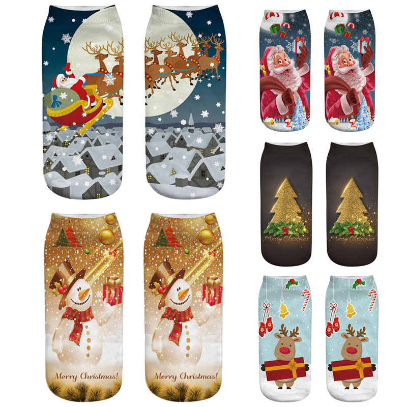 New Year Gifts Christmas Socks Santa Claus Snowman 3D Socks Women Cute Elk Short Socks Girls Socks 2019 Christmas Tree