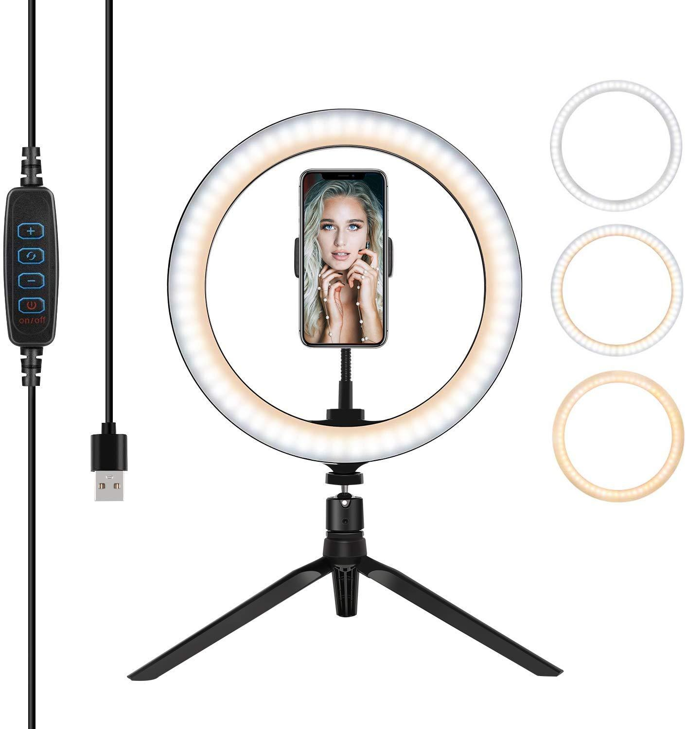 10 Inch LED Dimmable Makeup Ring Light For Live Streaming & YouTube Video - Desktop Selfie Lamp With Tripod & Cell Phone Holder