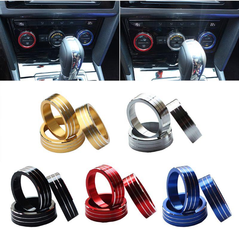 3 pçs interruptor de ar condicionado do carro botão anel capa para vw novo magotan para tiguan atlas t-roc ateca fr passat b8 variante 2017 2018
