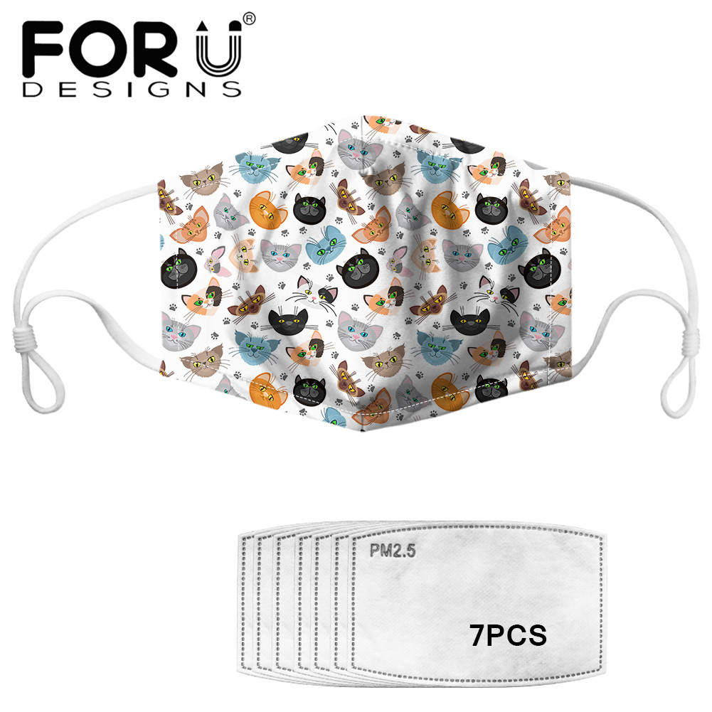 FORUDESIGNS 2020 Adult Elastic Mouth Mask With 7pcs Filters Cute Cats Printed PM2.5 Activated Carbon Adsorption Germ Kids Masks
