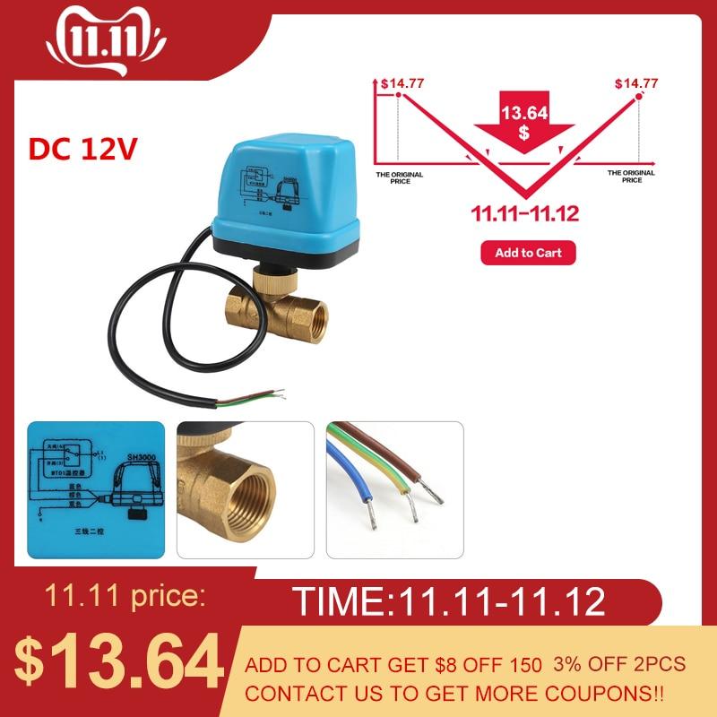 220V 12V электрический моторизованный шаровой клапан для кондиционирования воздуха воды Системы контроллер 2 полосная 3 жильный 1.6Mpa DN15 DN20 DN25-in Клапан from Товары для дома
