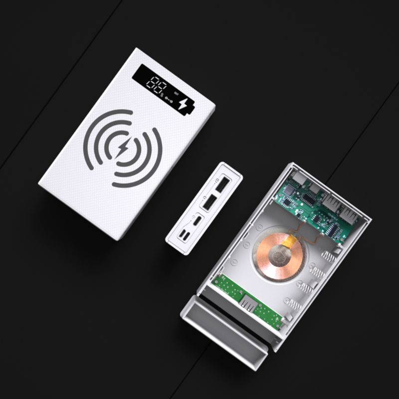 Wireless Charging LCD <font><b>Display</b></font> DIY <font><b>18650</b></font> Battery <font><b>Case</b></font> Power Bank Shell Portable External Box without Battery Powerbank Protector image