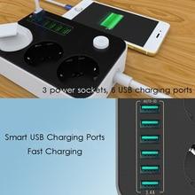 2500ワット10Aソケット充電器6 usbポートユニバーサルサージ保護充電ポート電源ストリップeuプラグ家庭用延長