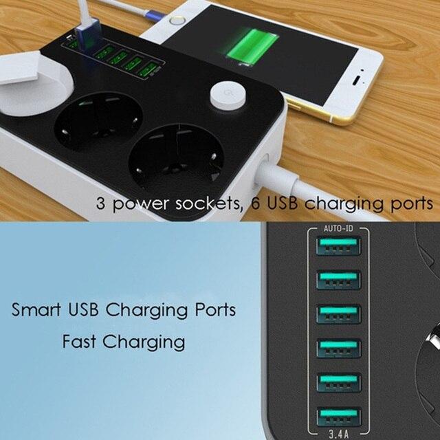 2500W 10A שקע מטען 6 יציאות USB האוניברסלי Surge הגנה טעינת יציאות כוח רצועות האיחוד האירופי תקע ביתי הארכת