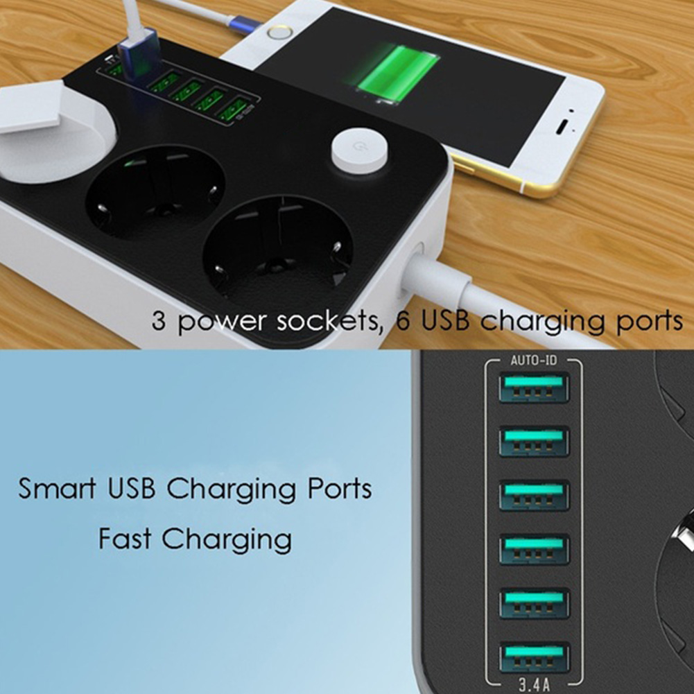 2500W 10A Socket Charger 6 USB Ports Universal Surge Protection Charging Ports Power Strips EU Plug Household ExtensionElectrical Plug   -