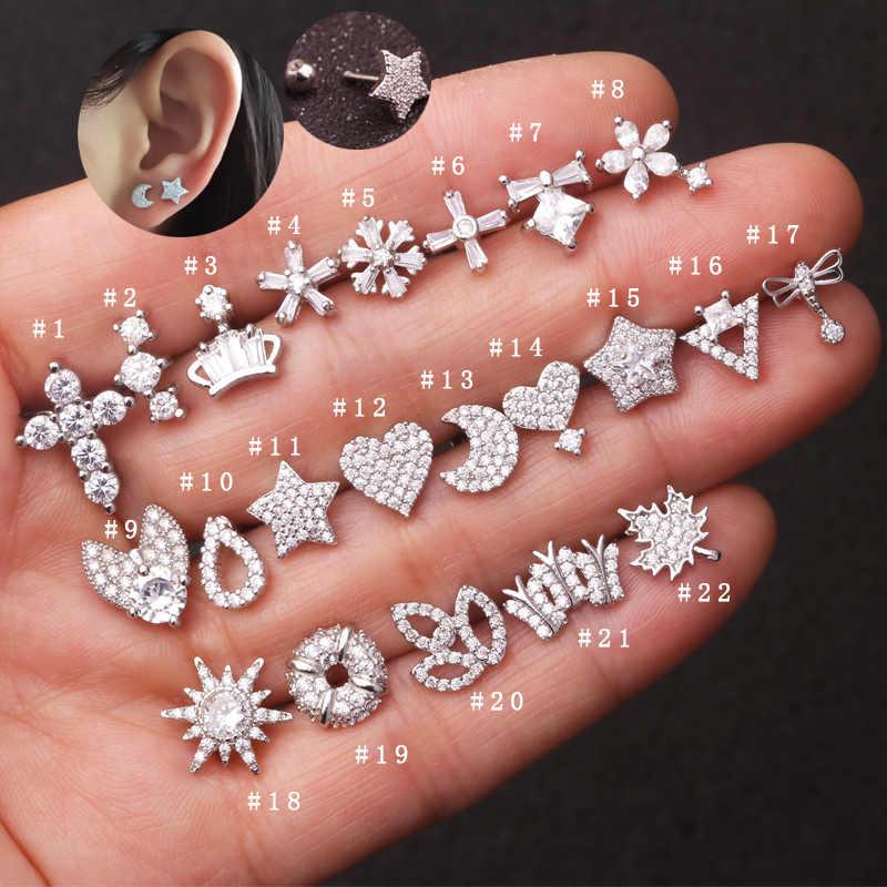 Sellsets יוקרה 1 חתיכה נירוסטה ברבל ירח כוכב לב צורת CZ אוזן Tragus Daith צריח סחוס פירסינג תכשיטים