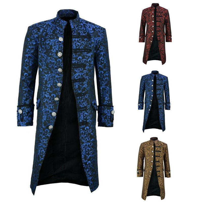 H303a3ee1642d4714a69eb858a209b840L HEFLASHOR Men Edwardian Steampunk Trench Coat Frock Outwear Vintage  Overcoat Medieval Jacket Cosplay Costume